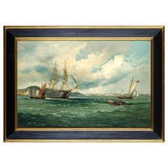 19th Century, American, Harbor Scene Painting