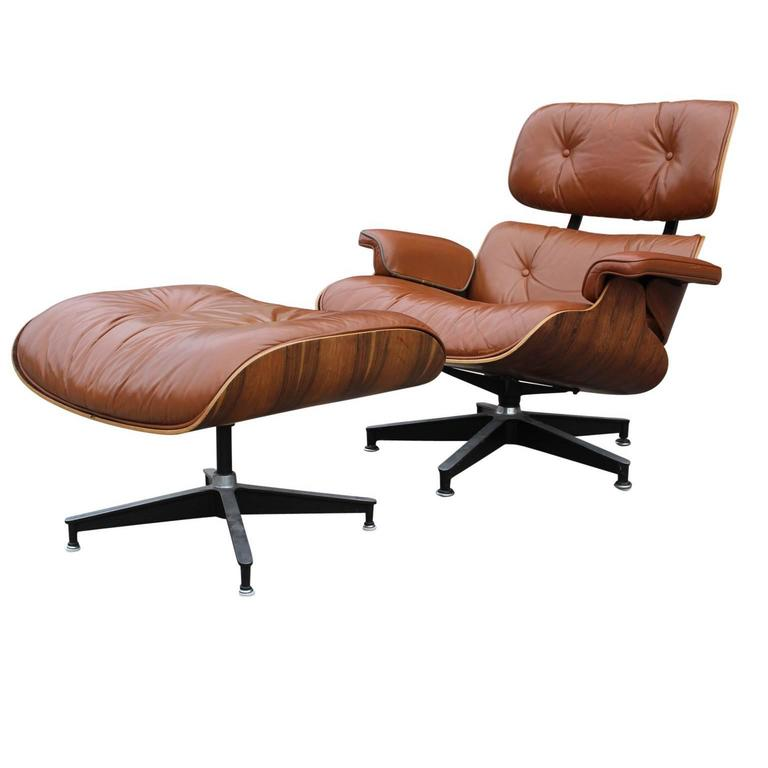 Modern Eames Rosewood Light Brown Leather Lounge Chair For