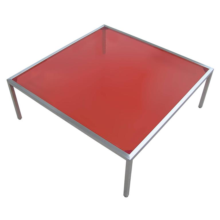 Stainless Steel Coffee Table With Red Inset Glass For Sale At 1stdibs