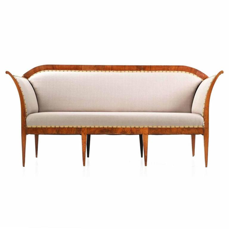 Biedermeier period walnut antique settee sofa 19th century at 1stdibs Biedermeier sofa