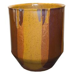 Mid-Century Modern Flame Glazed Ceramic Planter by David Cressey