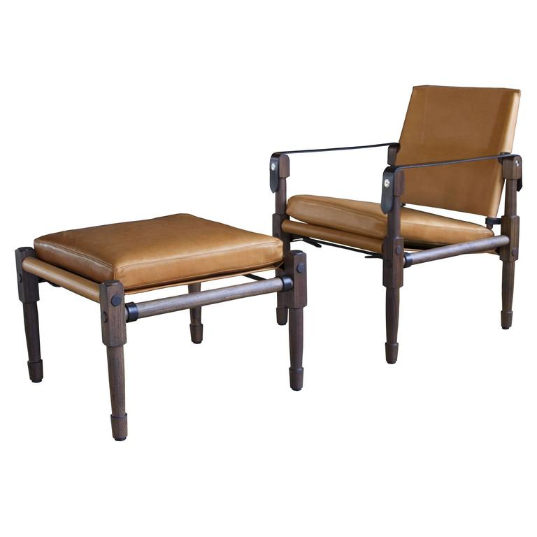 Chatwin Lounge and Ottoman in Marrakech Stained Walnut with Leather Upholstery