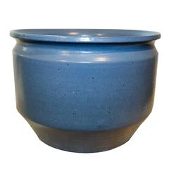 Mid Century Modern American Small Blue Glazed Planter by Earthgender