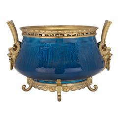 19th Century Asian Teal Blue Fire Glazed Porcelain and Ormolu Centerpiece