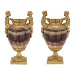 Pair of French 19th Century Louis XVI st. Blue John and Ormolu Urns