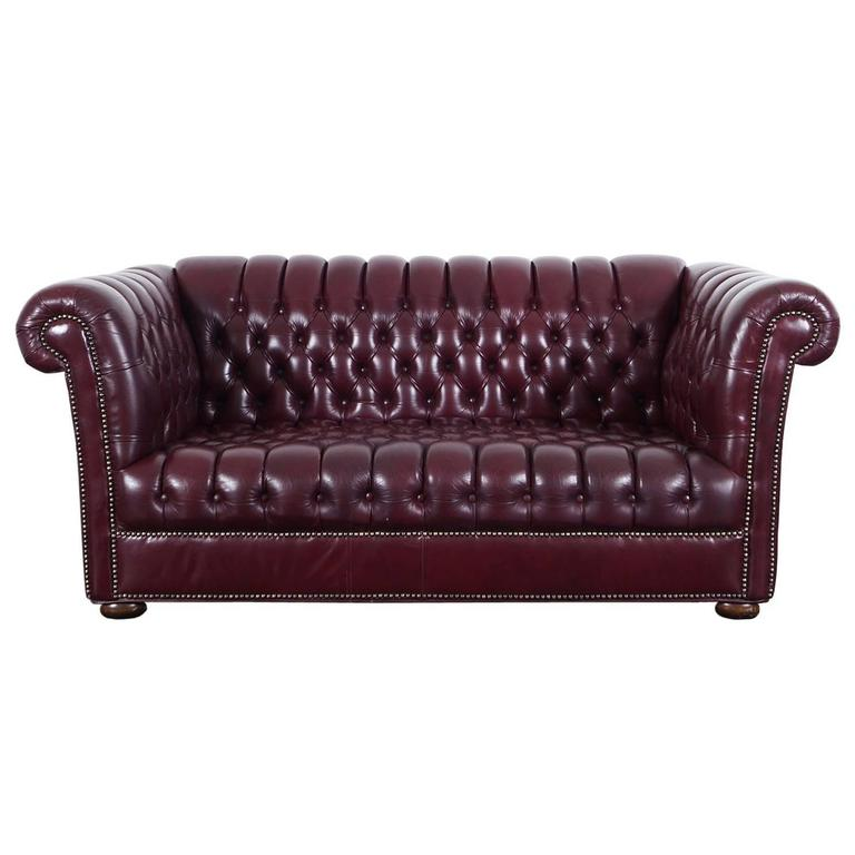 Vintage Burgundy Leather Chesterfield Loveseat For Sale At 1stdibs