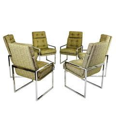Set of Six Milo Baughman Chrome Dining Chairs