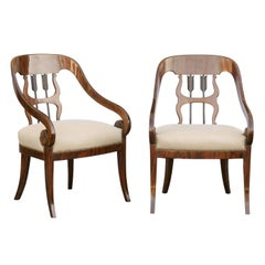 Pair of Austrian 1860s Biedermeier Armchairs with Arrow Motifs and Scrolled Arms
