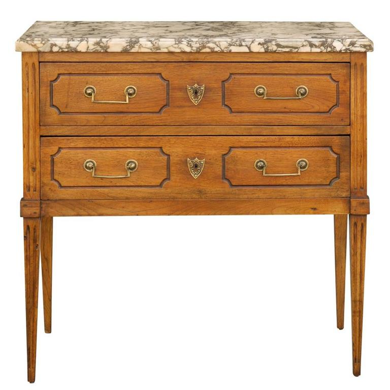 French Neoclassical Style 1880s Oak Two-Drawer Chest with Variegated Marble Top