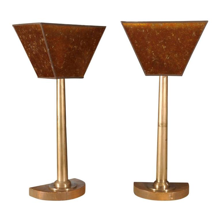 Tall Pair of Machine Age Bronze Lamps For Sale