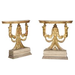 Pair of Italian Neoclassical Style Carved Giltwood Consoles