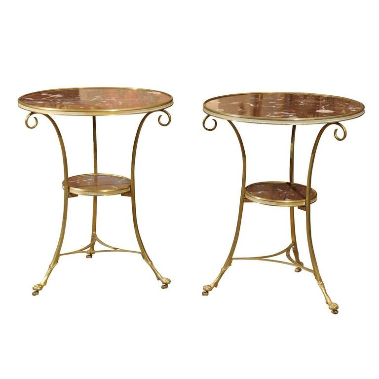Pair of Brass & Rouge Marble French Style Gueridons with Paw Feet, 20th Century