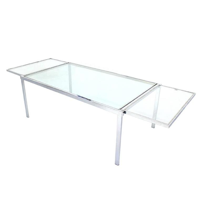 Chrome Glass Dining Conference Table with Drop Leaf Extensions Self Containing