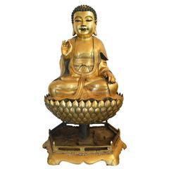 Large Antique Gilt Bronze Seated Buddha on Lotus Flower