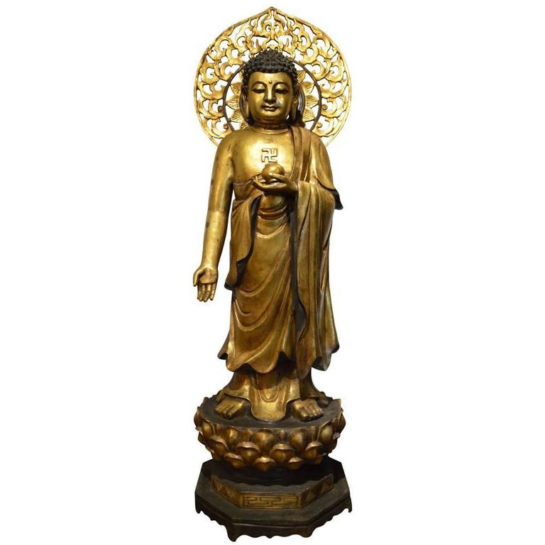 Magnificent, Antique, Large, Gilt Bronze Buddha with Halo