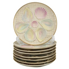 Eight Iridescent Blush Ivory Porcelain Oyster Plates by Royal Worcester, 1887