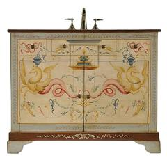 Neoclassical Pompeian Style Painted Sink Base with Three Drawers and Two Doors