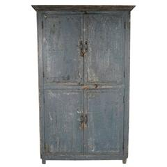 French Four-Door Cabinet in Original Blue Color