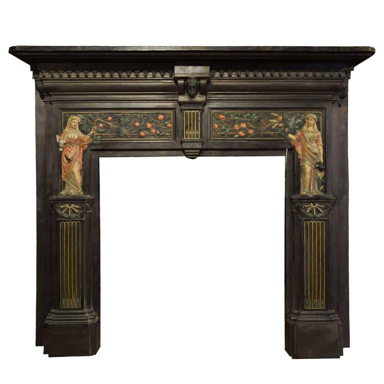 English Cast Iron Peace And Plenty Fireplace Mantel For Sale At 1stdibs