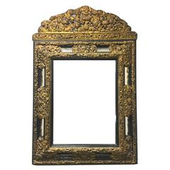 19th Century Dutch Embossed Brass and Ebony Mirror