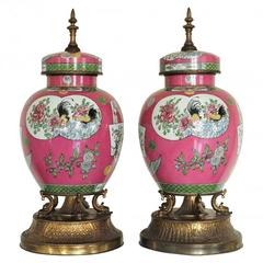 Pair of Impressive Pre-1920 Porcelain Garnitures Converted from Lamps