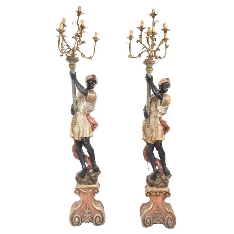 Captured Glass Floor Lamp Venetian Polychrome Blackamoor Floor Torchieres For Sale