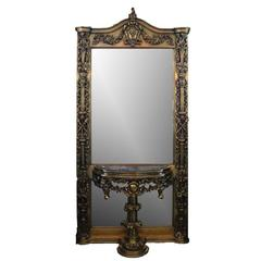 Oversized French Baroque Style Giltwood Pier Mirror with Pedestal, 20th C