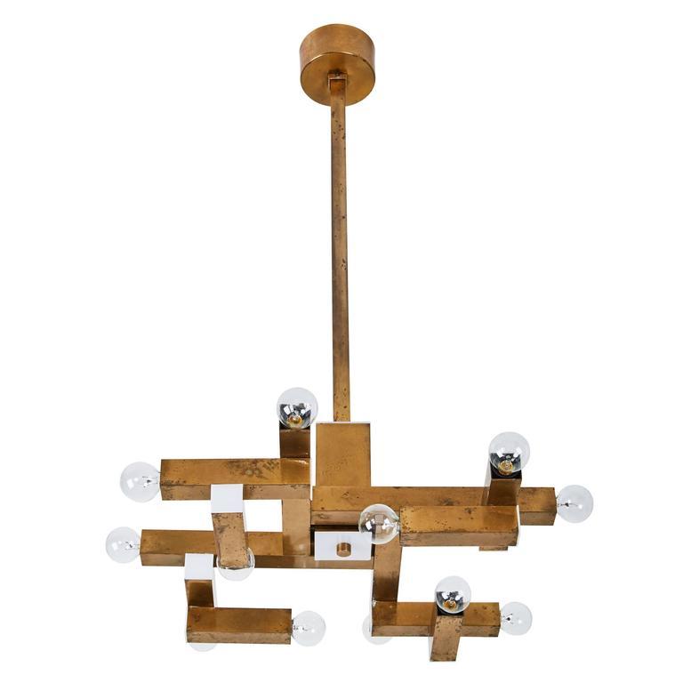 Italian Brass Chandelier by Lumi 1