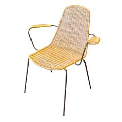 Sculptural German Wicker and Iron Armchair