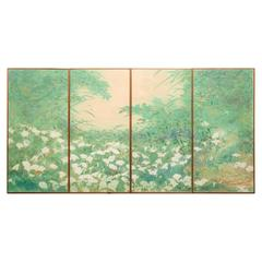 Set of Four Fusuma, Sliding Door Panels: Wild Lily Patch