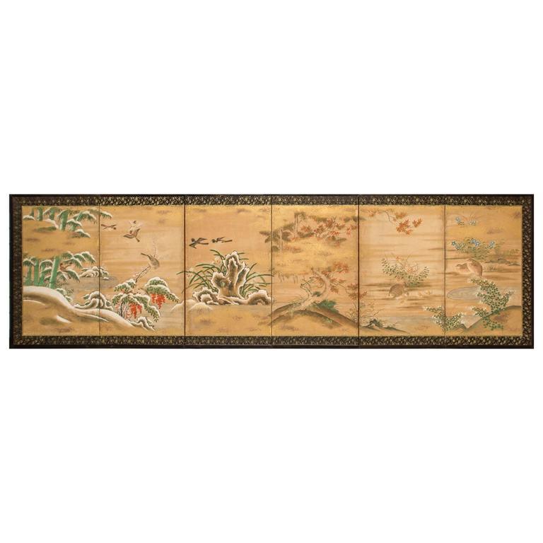 Japanese Six Panel Screen: Rimpa School Painting of Seasonal Landscape