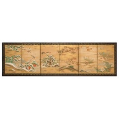 Japanese Six Panel Screen: Rimpa School Painting of Winter to Spring