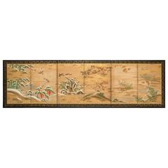 Japanese Six Panel Screen: Rimpa School Painting of Seasonal Landscape