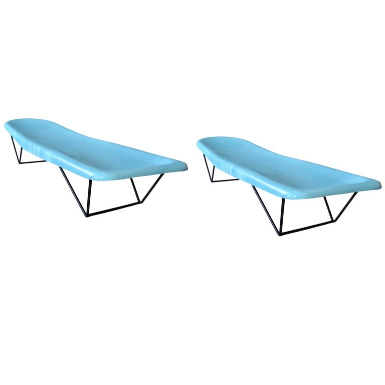 Pair of Vintage Fiberglass and Iron Poolside Lounge Chairs by Fibrella