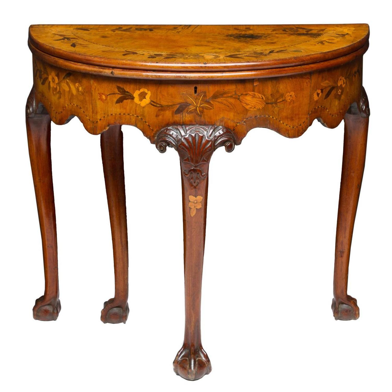 19th Century Dutch Marquetry Inlaid Flip Top Game Table