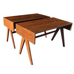 Pair of Teak Small Desks by Pierre Jeanneret from Chandigarh, India