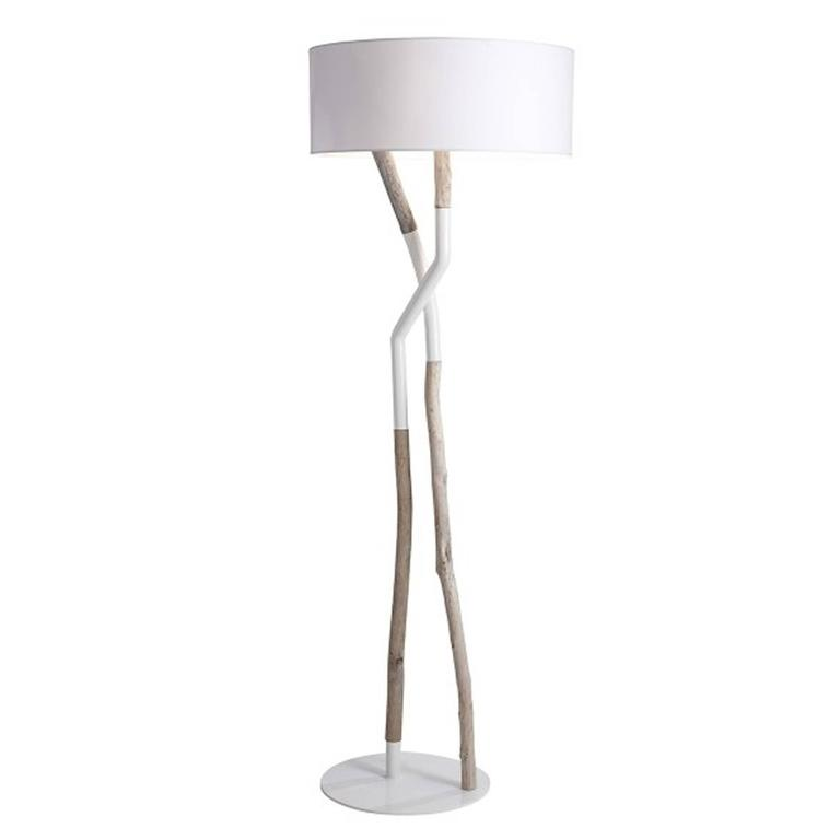 Driftwood Floor Lamp in Black or White Lacquered Steel