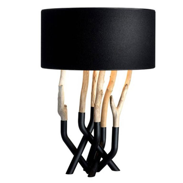 Driftwood Table Lamp in Black or White Lacquered Steel