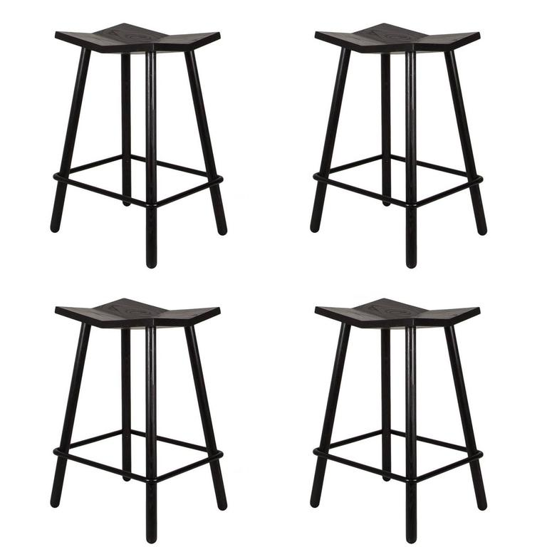 Customizable Set of Four Black Mitre Counter Stools from Souda, Made to Order