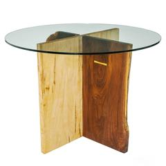 Walnut and Maple Slab Base Glass Top X Dining Table