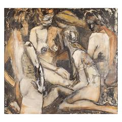 Anne Savage 1896-1971 Abstract Nude Painting Oil on Canvas