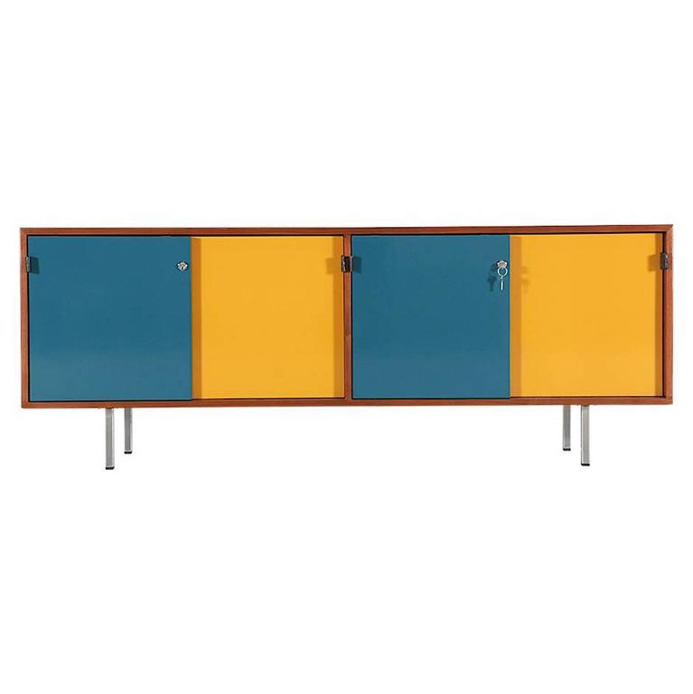 Florence Knoll Lacquered & Walnut Credenza with Chrome Base