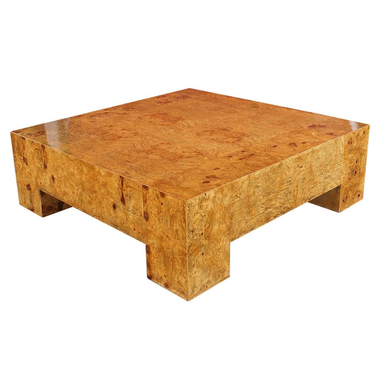 Vintage Burl Wood Coffee Table by Milo Baughman at 1stdibs