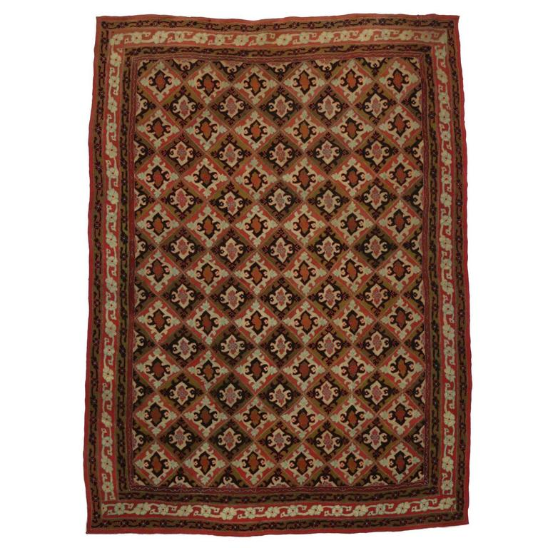 Antique Afghanistan Area Rug with Jacobean Style, Antique Wool Felted Rug For Sale