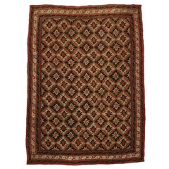 Antique Afghanistan Area Rug with Jacobean Style, Antique Wool Felted Rug