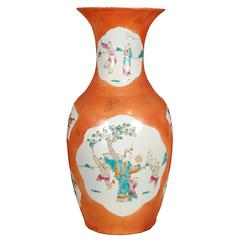20th Century, Chinese Persimmon Phoenix Tail Vase with Cartouche Paintings