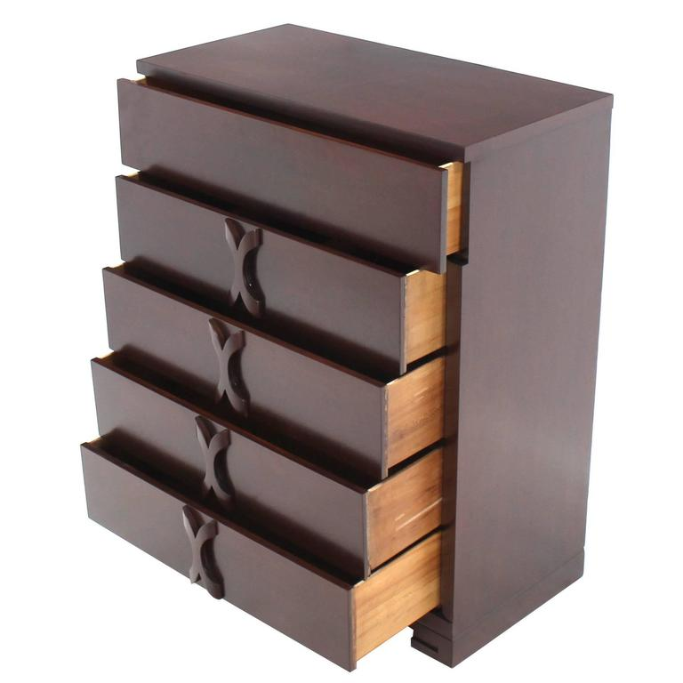 X Pulls Mid Century Modern High Chest Dresser Greek Key Style Feet