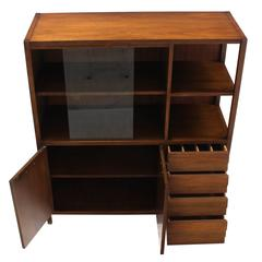Mid-Century Walnut Bookcase Server Display Cabinet W/ Drawers Glass Sliding Door