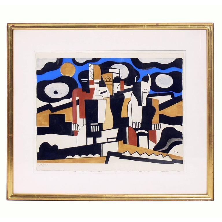 Abstract pochoir print after Fernand Léger
