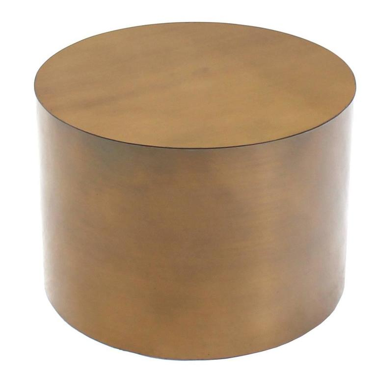Superieur Brass Or Bronze Cylinder Side Round Coffee Table Base Pedestal For Sale